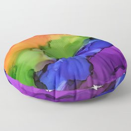 Rainbows - Alcohol Ink Painting Floor Pillow