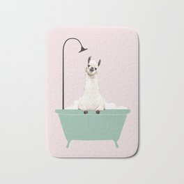 Llama Enjoying Bubble Bath Bath Mat