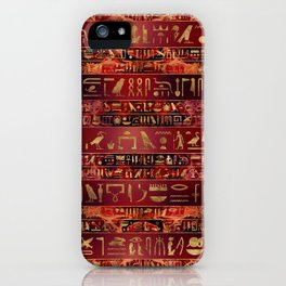 Egyptian hieroglyphs gold on red painted texture iPhone Case