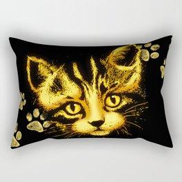Cute Cat Portrait with Paws Prints Rectangular Pillow