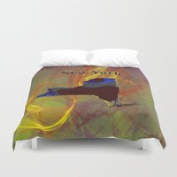 new york map Duvet Covers featuring New York Map by Roger Wedegis