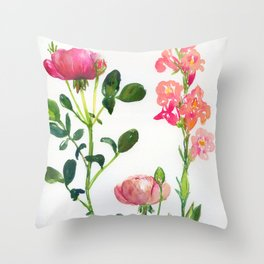 roses and snapdragon Throw Pillow