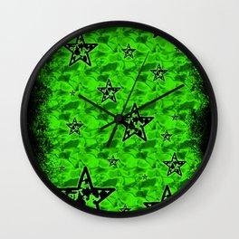 Green Toxic Stars Wall Clock