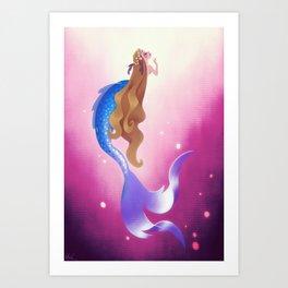 Mermad In Hot Pink Sea Art Print