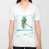 cuba V-neck T-shirts featuring Cuba , Playa  ( Cuba , beach ) by arnedayan