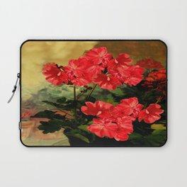 Decorative Red Geraniums  Floral Still Life Art Laptop Sleeve