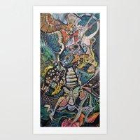 phoenix Art Prints featuring Phoenix by Dawn Patel Art