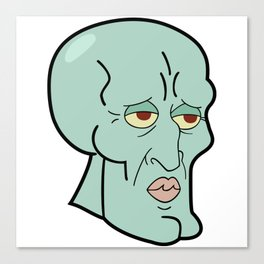 Handsome Squidward funny spongebob meme sticker shirt Canvas Print