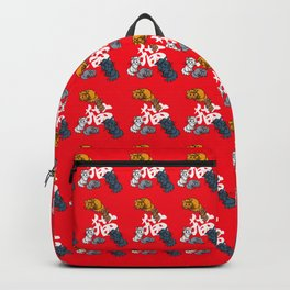 Cute anime cats with kanji on red background Backpack