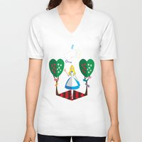 alice in wonderland V-neck T-shirts featuring Wonderland by AmadeuxArt