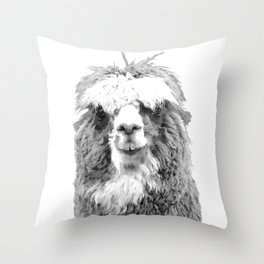 Black and White Alpaca Throw Pillow