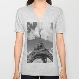 Eiffel Tower - Black and White Unisex V-Neck