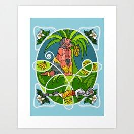 Hanuman & Bheema Art Print