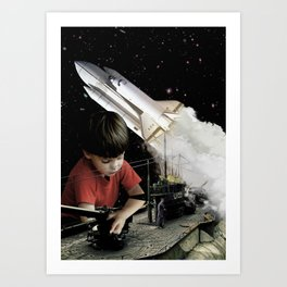 Small kids with big toys Art Print