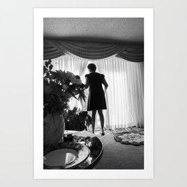 Woman Looking through the Window, A Art Print