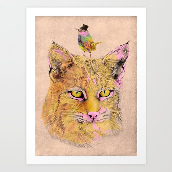 Cat&Bird 2 Art Print