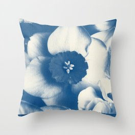 Petals by the Sea [Cyanotype Blue] Throw Pillow