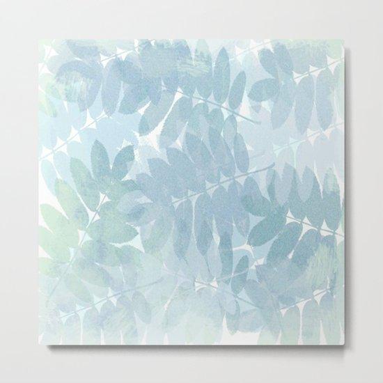 Vintage Blue Leaf Abstract Metal Print