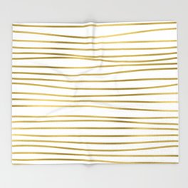 Small simply uneven luxury gold glitter stripes on clear white - horizontal pattern Throw Blanket