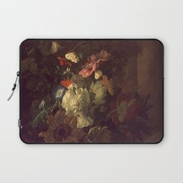 Rachel Ruysch - Flowers in a glass vase on a balustrade with colonnade Laptop Sleeve