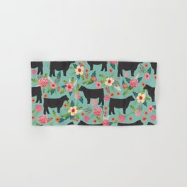Show Steer cattle breed floral animal cow pattern cows florals farm gifts Hand & Bath Towel