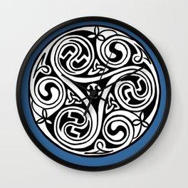 Celtic Art - Triskele - on Blue Wall Clock