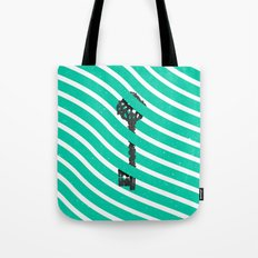 Teal White Zig Zag Stripes Pattern Black Wood Key Tote Bag