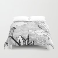 led zeppelin Duvet Covers featuring Zeppelin Overhead by Mr.Willow