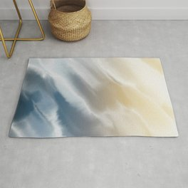 Abstract Watercolor Aesthetic, Wave Art, Blue and Yellow Rug