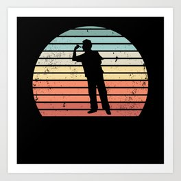 Retro Dartist Sunset Darts Throwing Gift Art Print