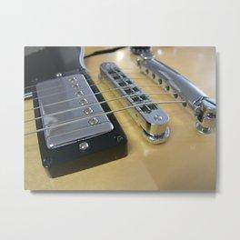Close Up of Yellow Guitar Metal Print