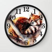 red panda Wall Clocks featuring Red Panda by Anna Shell