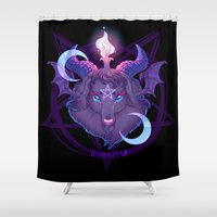 baphomet Shower Curtains featuring Baphomet (BLACK) by Gunkiss