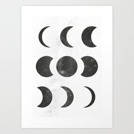 Moon Phases White Art Print