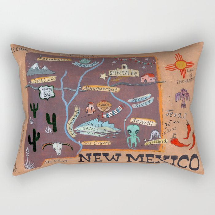 New Mexico map Rectangular Pillow