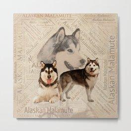 Alaskan Malamute Collage on Word Pattern Metal Print