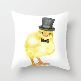 Top Hat Chick Watercolor Throw Pillow