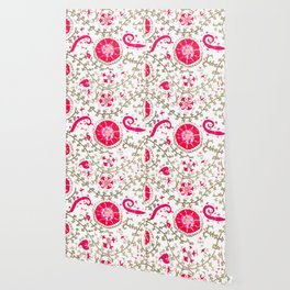 Whimsical Wildflower Red II // 19th Century Colorful Fuchsia Green Ornate Watercolor Pattern Wallpaper