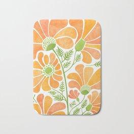 Happy California Poppies / hand drawn flowers Bath Mat
