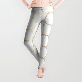 Geometric Honeycomb Pattern - Gold #170 Leggings