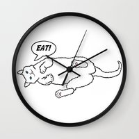eat Wall Clocks featuring Eat! by anetambiel