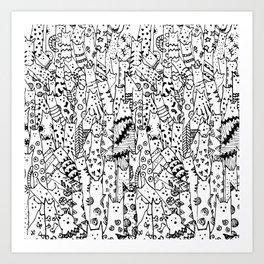 Cat Doodle Art Prints | Society6
