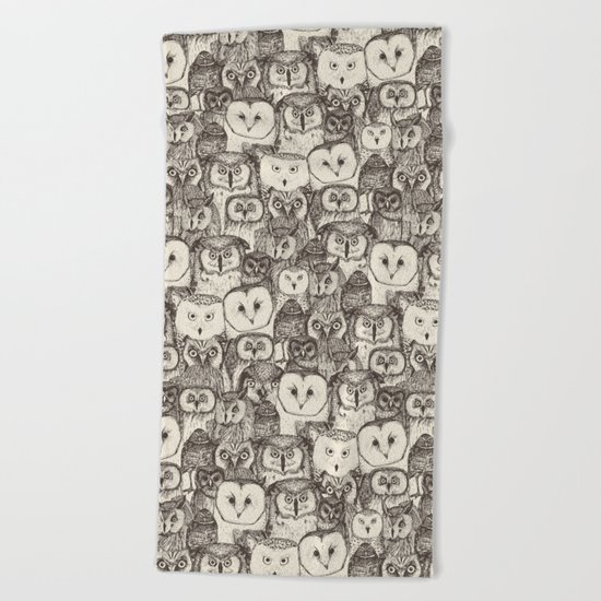 just owls natural Beach Towel