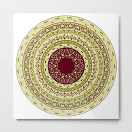 circle  floral pattern, indian style Metal Print