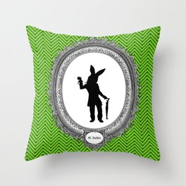Alice's Adventures in Wonderland Silhouette White Rabbit Throw Pillow