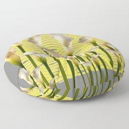 Grey & Yellow Pattern Calla Lilies Art Floor Pillow