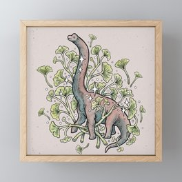 Brachio Ginkgo | Dinosaur Botanical Art Framed Mini Art Print