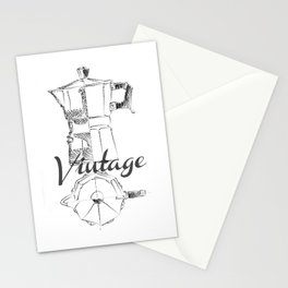 Coffee pot blueprint sketch Stationery Cards