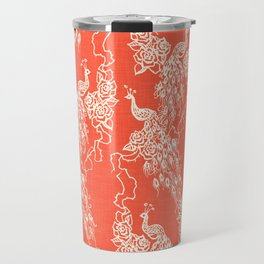 PEACOCK - coral Travel Mug