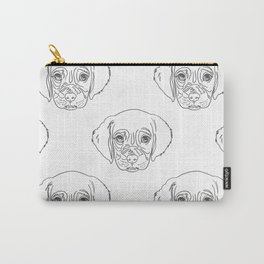 Cute Gray Puppy Dog Hand Drawn Strokes Pattern Carry-All Pouch